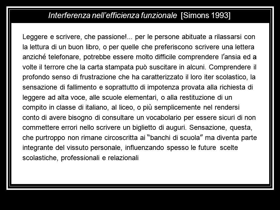 Interferenza nell'efficienza funzionale [Simons 1993]